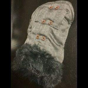 Gray Fur Collared Dog Coat/ Vest, Sz. XS